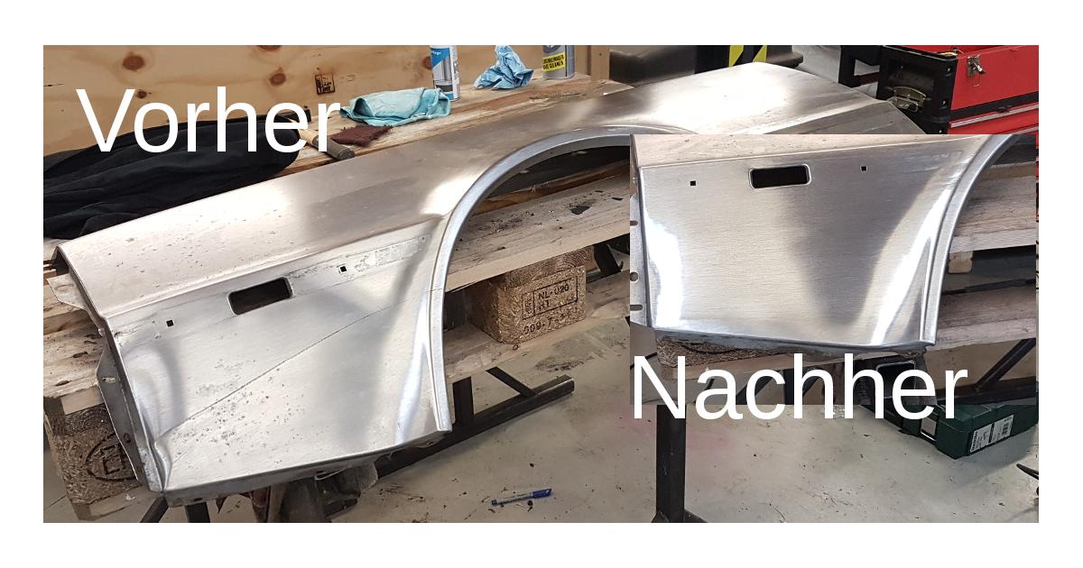 Delorean DMC12 linker Kotflügel Delle Kratzer repariert Vorher / Nachher
